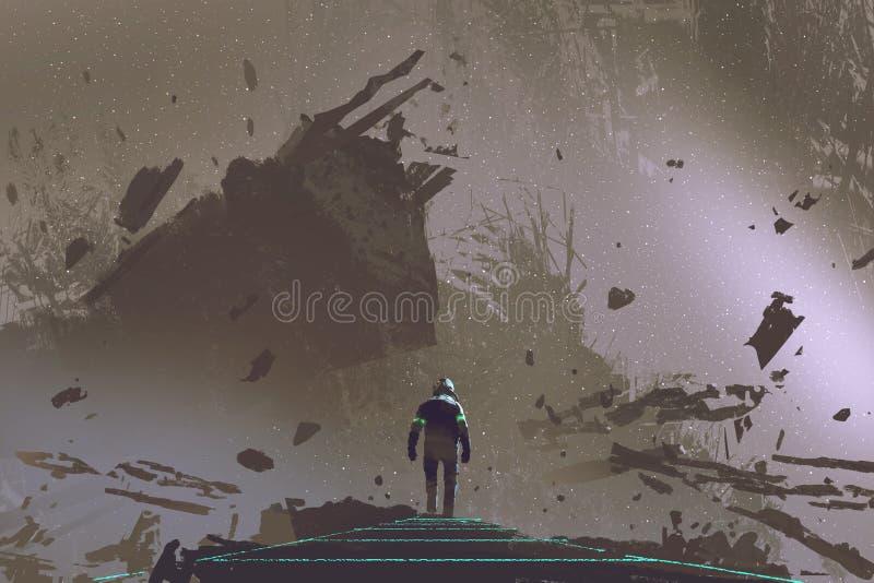 El astronauta que camina en la trayectoria ligera en tierra muerta stock de ilustración