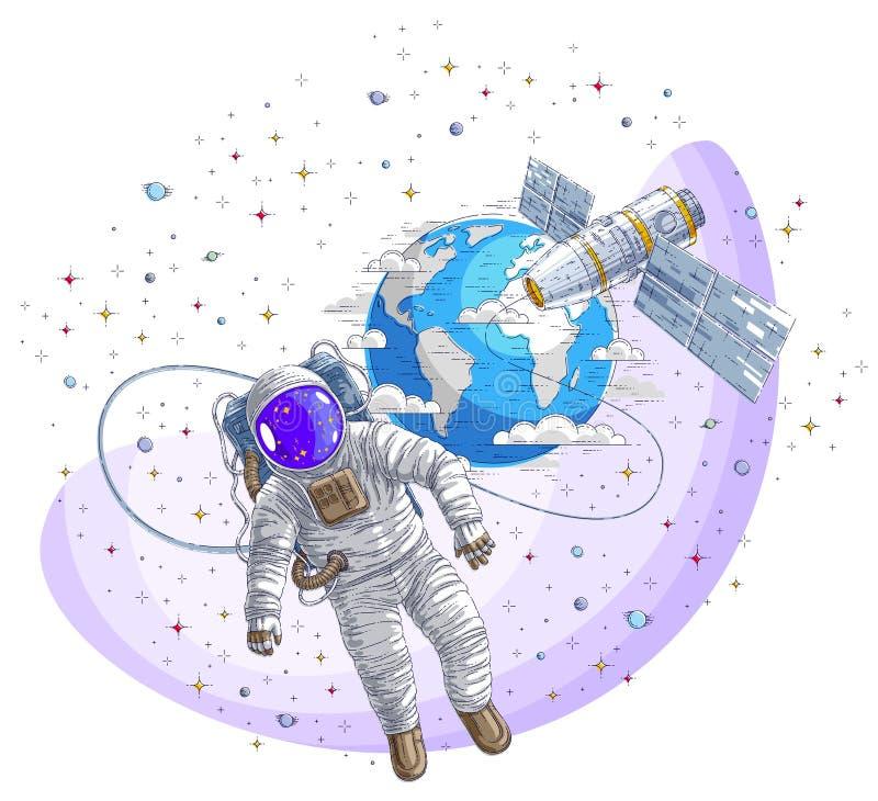 El astronauta salió en espacio abierto conectado con la estación espacial stock de ilustración