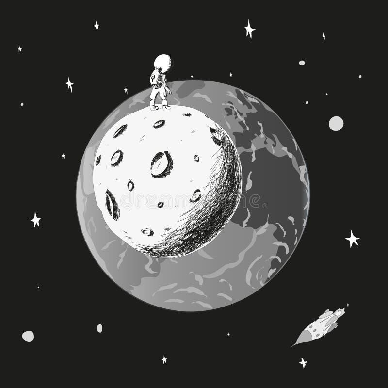 El astronauta se coloca en la luna y mira la tierra monocromático fotos de archivo libres de regalías