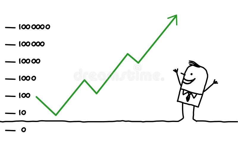 El asunto y sube stock de ilustración