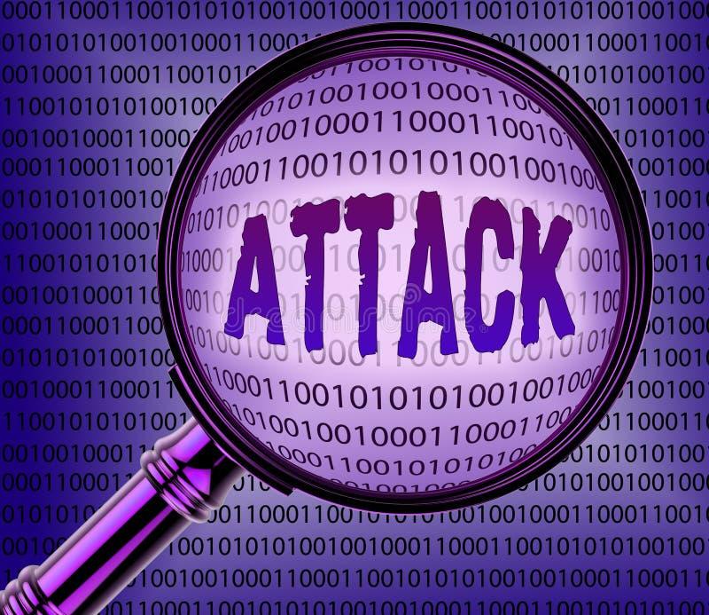 El ataque cibernético indica conocimiento de la lupa y en línea libre illustration