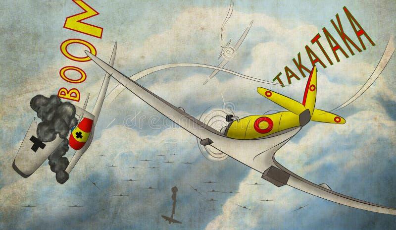 El ataque del avión stock de ilustración