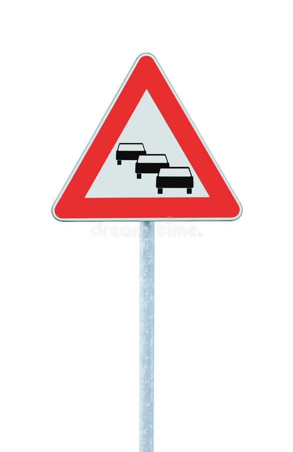 El atasco hace cola la señal de tráfico probable, cuenta con los retrasos a continuación que advierten fotografía de archivo libre de regalías