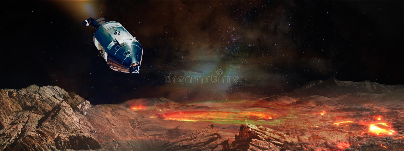 El aterrizaje de la nave espacial en el planeta extranjero stock de ilustración