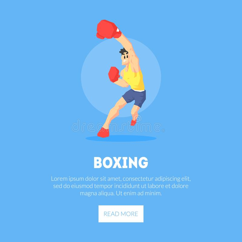 El atleta de sexo masculino del boxeador en los deportes uniformes y la plantilla de la bandera de los guantes de boxeo, elemento stock de ilustración