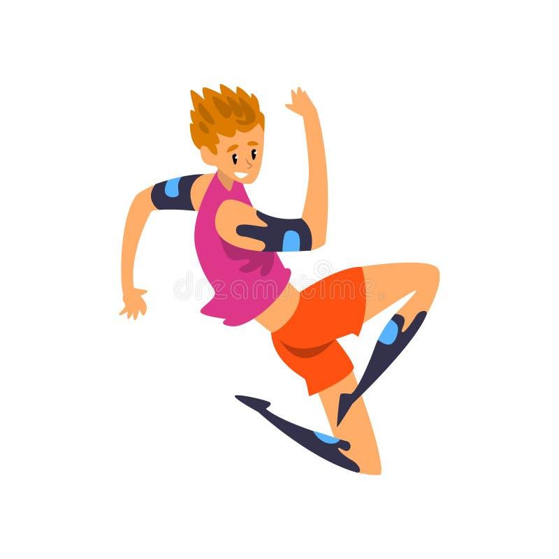 El atleta de sexo masculino en la ropa futurista, tecnología del futuro en deportes vector el ejemplo en un fondo blanco stock de ilustración