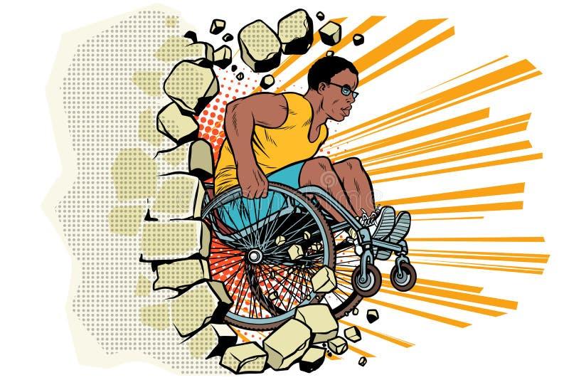El atleta de sexo masculino negro en una silla de ruedas perfora la pared ilustración del vector