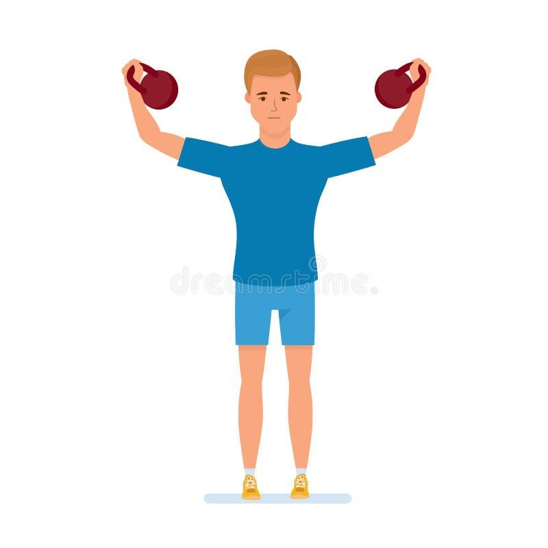 El atleta hace los ejercicios físicos, dedicados a pesos de elevación del levantamiento de pesas ilustración del vector