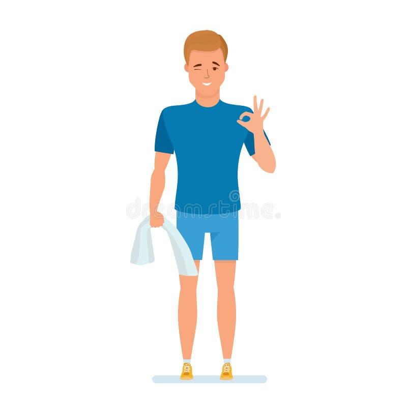 El atleta que descansa después de entrenar, toalla de los controles a disposición, demostración gesticula stock de ilustración