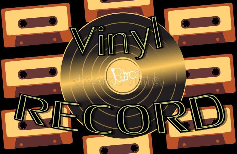 El audio musical es un disco de vinilo retro de la antigüedad del inconformista del viejo vintage y un disco de vinilo de la insc stock de ilustración