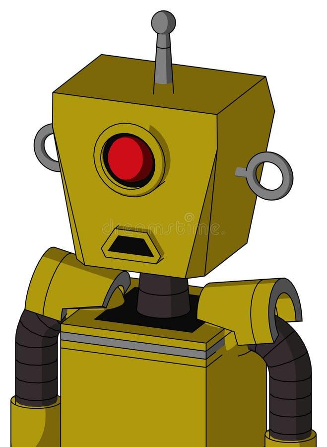 El autómata amarillo con la cabeza de la caja y boca triste y los Cyclops observan y sola antena libre illustration