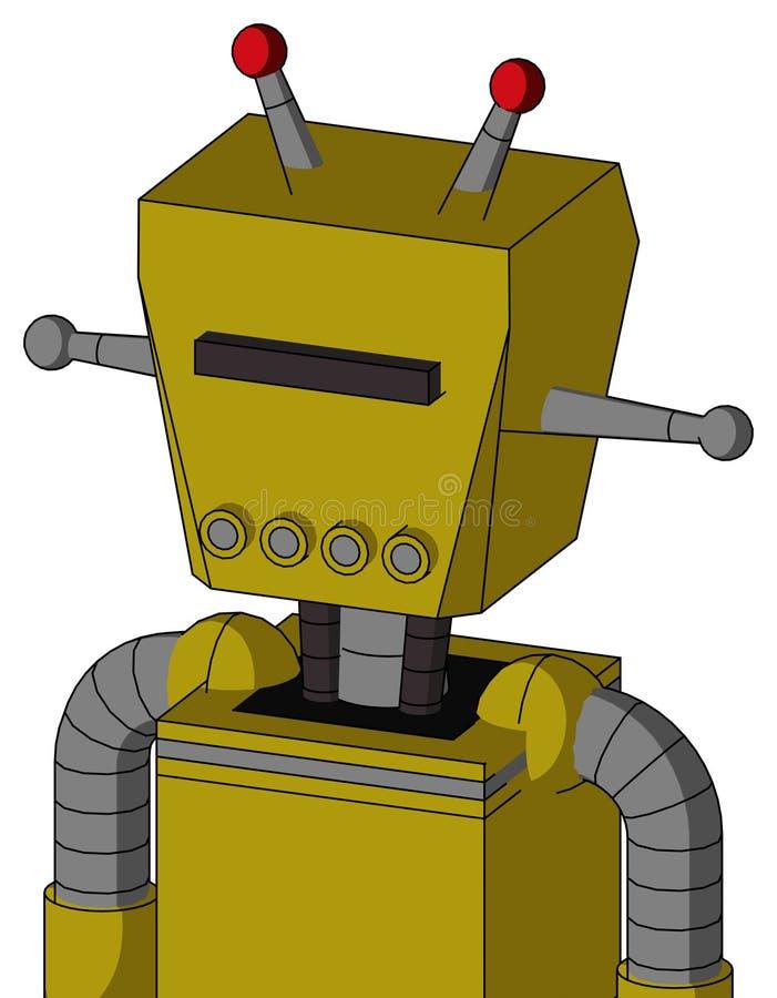 El autómata amarillo con la cabeza de la caja y los tubos articulan y los Cyclops negros del visera y antena llevada doble stock de ilustración