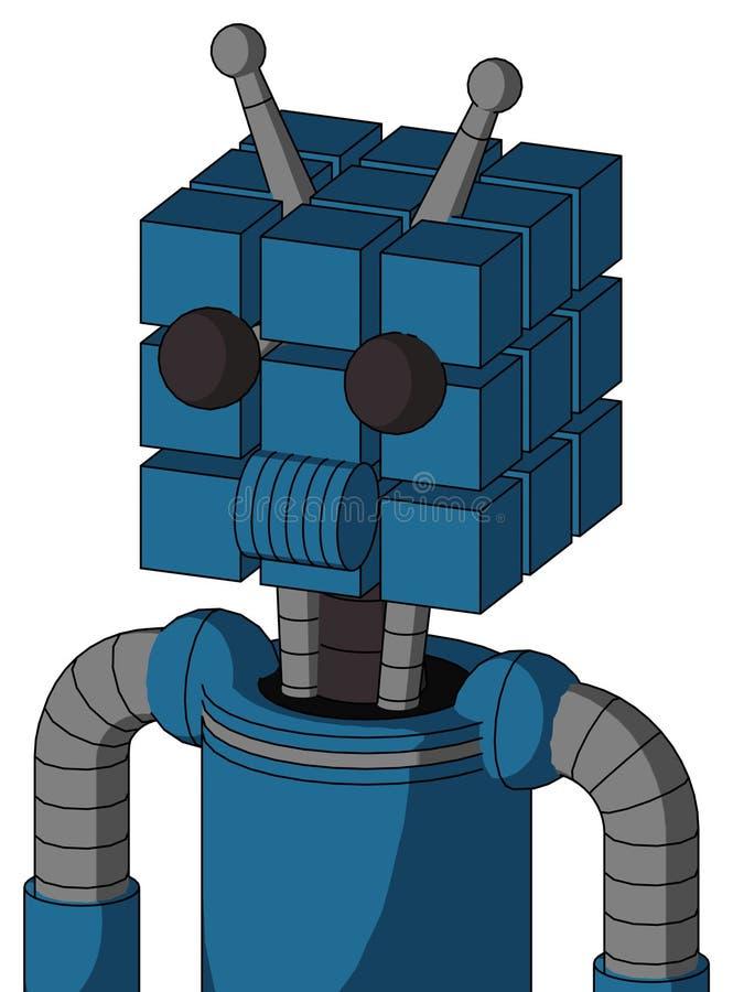 El autómata azul con la cabeza del cubo y los Presidentes articulan y dos ojos y antena doble stock de ilustración