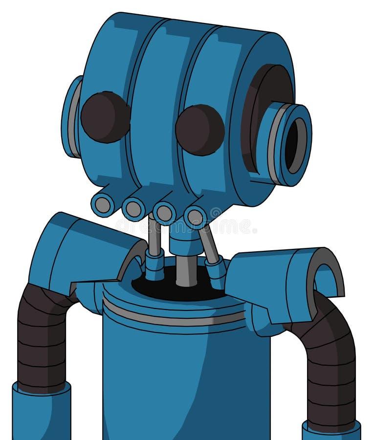 El autómata azul con la cabeza del Multi-toroide y los tubos articulan y dos ojos ilustración del vector
