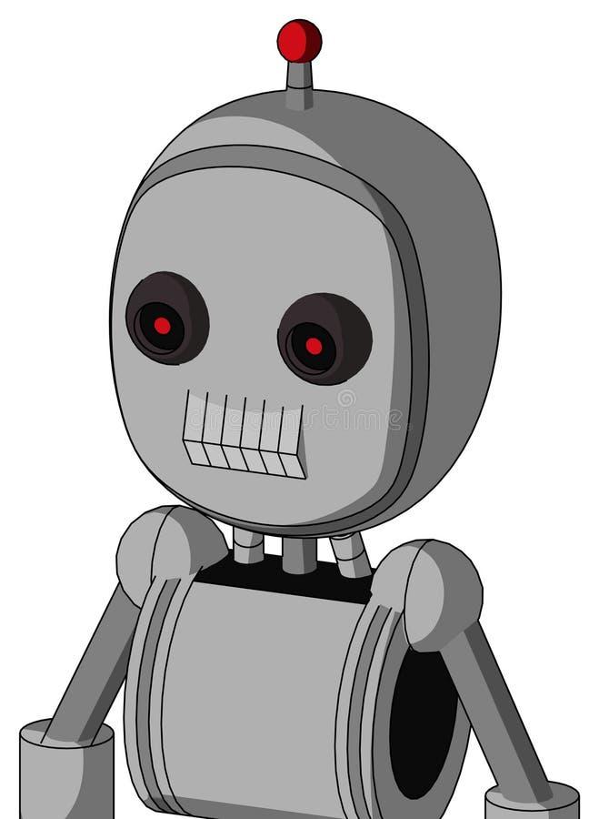El autómata blanco con la cabeza de la burbuja y los dientes articulan y los ojos rojos que brillan intensamente negros y sola an ilustración del vector