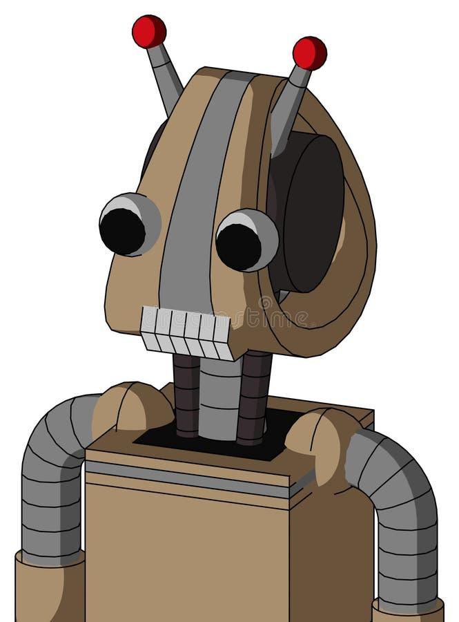 El autómata de la cartulina con la cabeza de Droid y los dientes articulan y dos ojos y antena llevada doble ilustración del vector