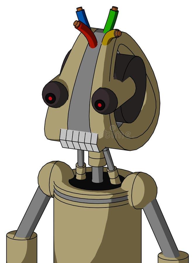 El autómata del Ejército-moreno con la cabeza de Droid y los dientes articulan y pelo observado y del alambre rojo ilustración del vector