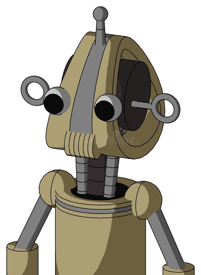 El autómata del Ejército-moreno con la cabeza de Droid y los Presidentes articulan y dos ojos y sola antena libre illustration