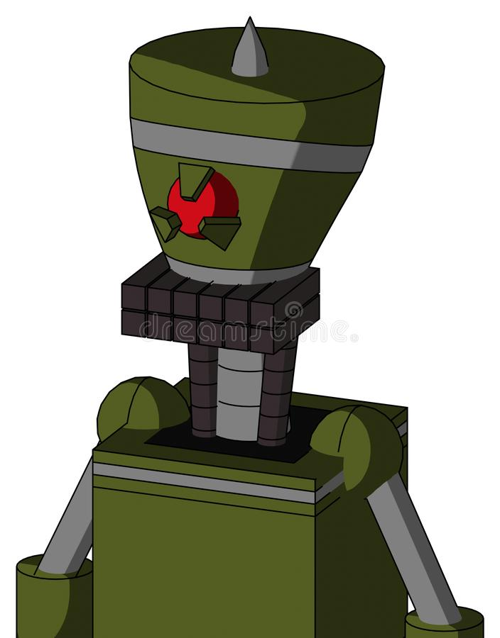 El autómata del verde caqui con la boca de la cabeza y del teclado del florero y los Cyclops enojados observan y Spike Tip libre illustration