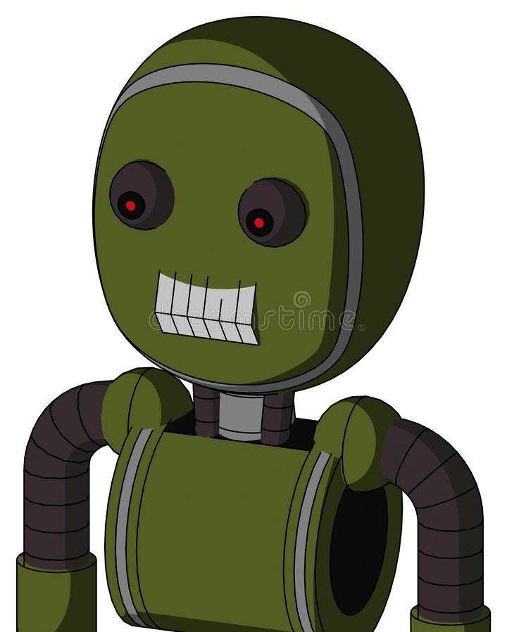 El autómata del verde caqui con la cabeza de la burbuja y los dientes articulan y rojo observado libre illustration