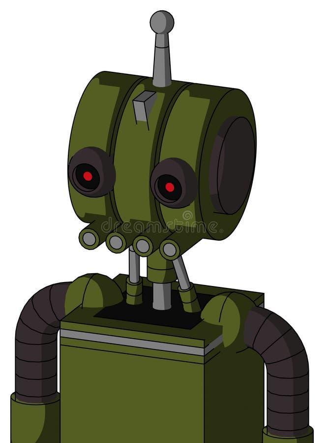 El autómata del verde caqui con la cabeza del Multi-toroide y los tubos articulan y los ojos rojos que brillan intensamente negro libre illustration