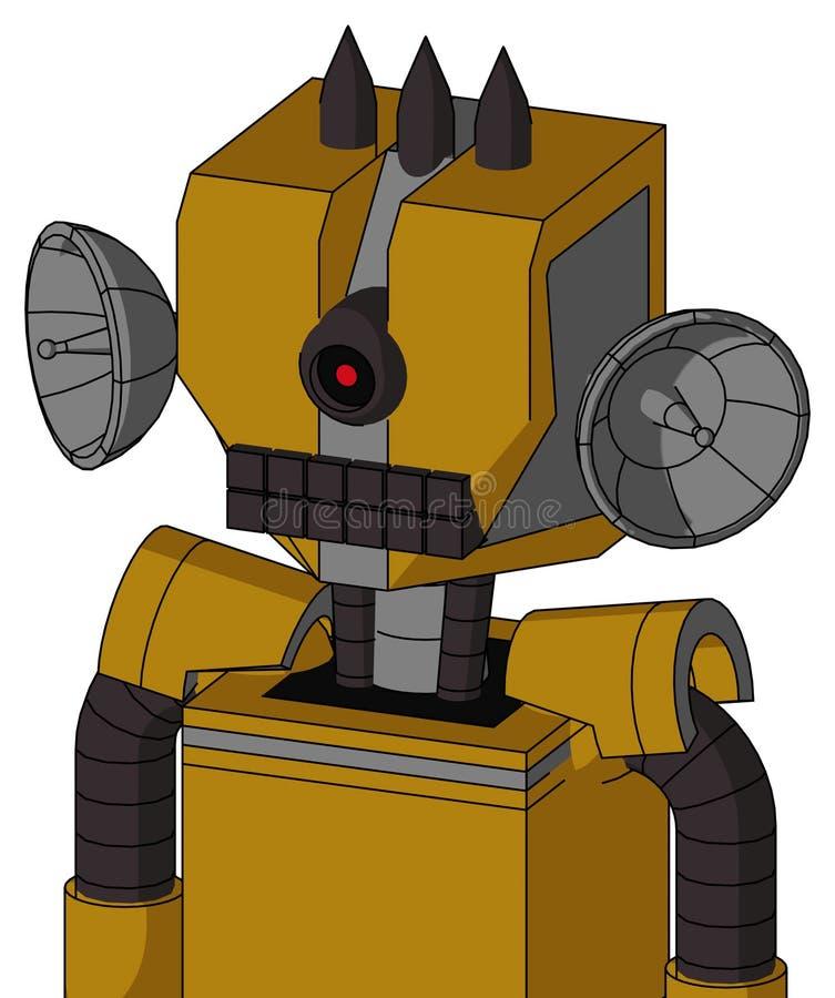 El autómata Oscuro-amarillo con la boca mecánica de la cabeza y del teclado y los Cyclops negros observan y tres puntos oscuros libre illustration