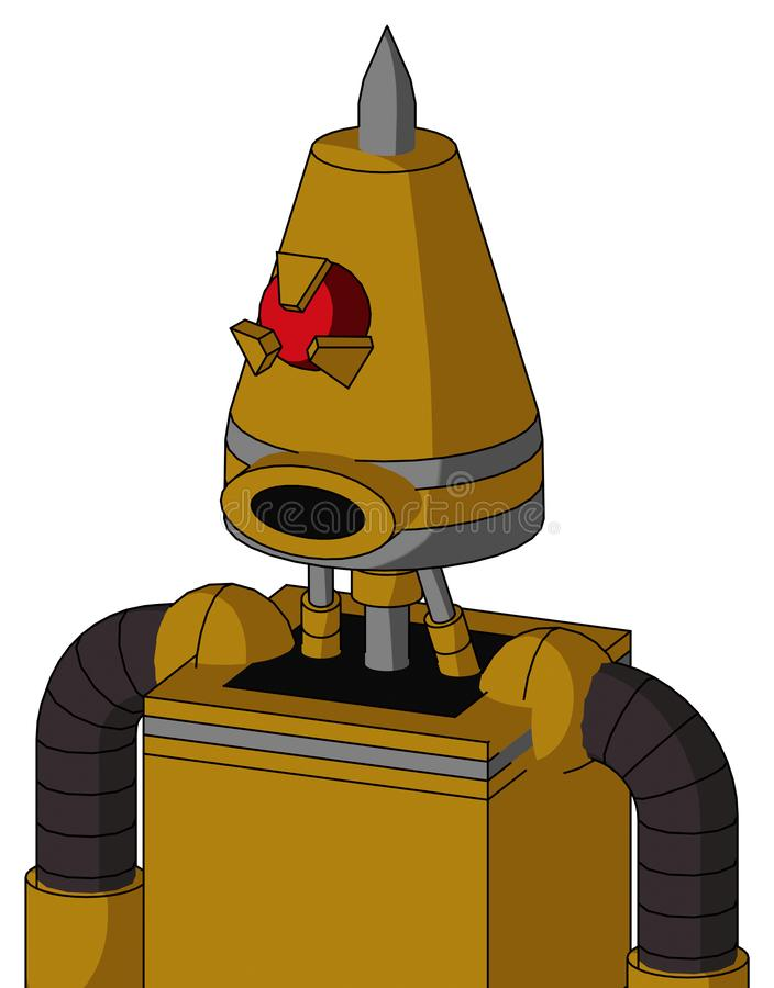 El autómata Oscuro-amarillo con la cabeza del cono y los Cyclops redondos del boca y enojados observan y Spike Tip libre illustration