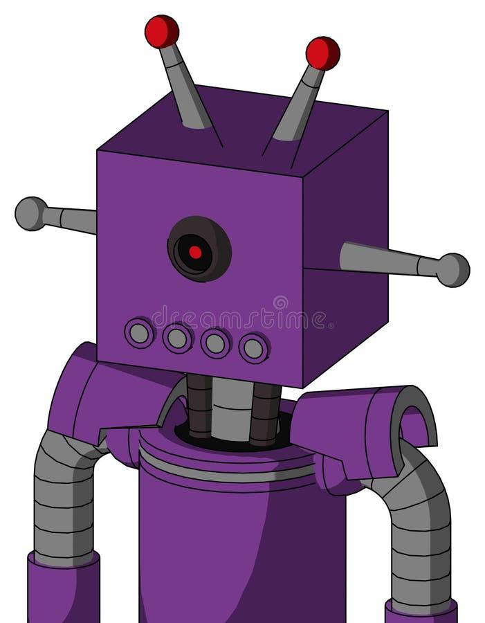 El autómata púrpura con la cabeza de la caja y los tubos articulan y los Cyclops negros ojo y antena llevada doble stock de ilustración