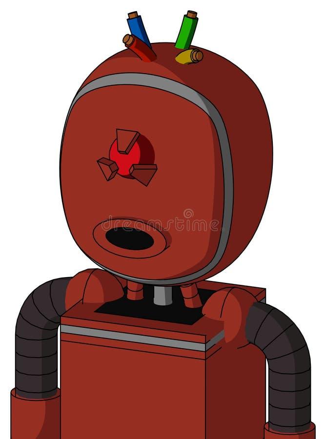 El autómata rojo con la cabeza de la burbuja y los Cyclops redondos del boca y enojados observan y atan con alambre el pelo ilustración del vector