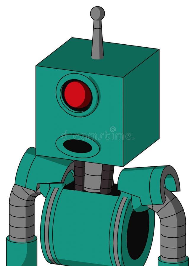 El autómata verde con la cabeza de la caja y boca redonda y los Cyclops observan y sola antena ilustración del vector