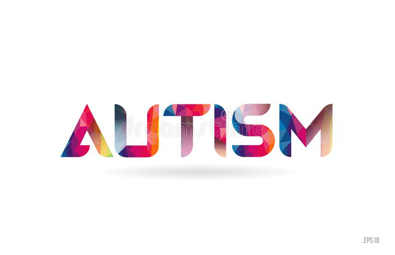 el autismo coloreó el texto de la palabra del arco iris conveniente para el diseño del logotipo libre illustration