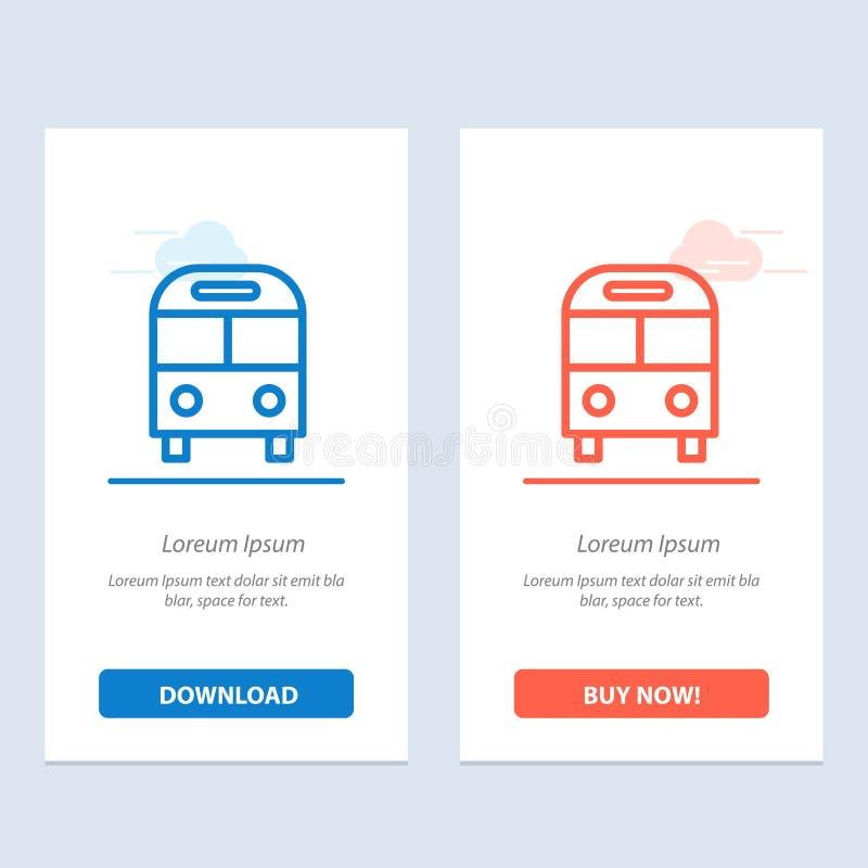 El auto, autobús, entrega, azul logístico, del transporte y transferencia directa roja y ahora compra la plantilla de la tarjeta  ilustración del vector