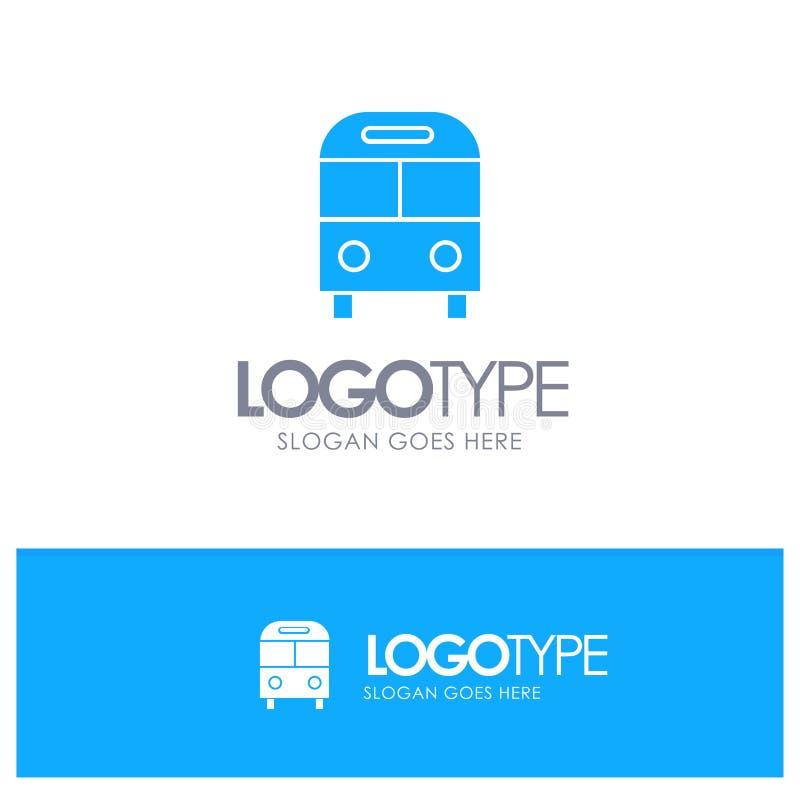 El auto, autobús, entrega, logístico, logotipo sólido azul del transporte con el lugar para el tagline libre illustration