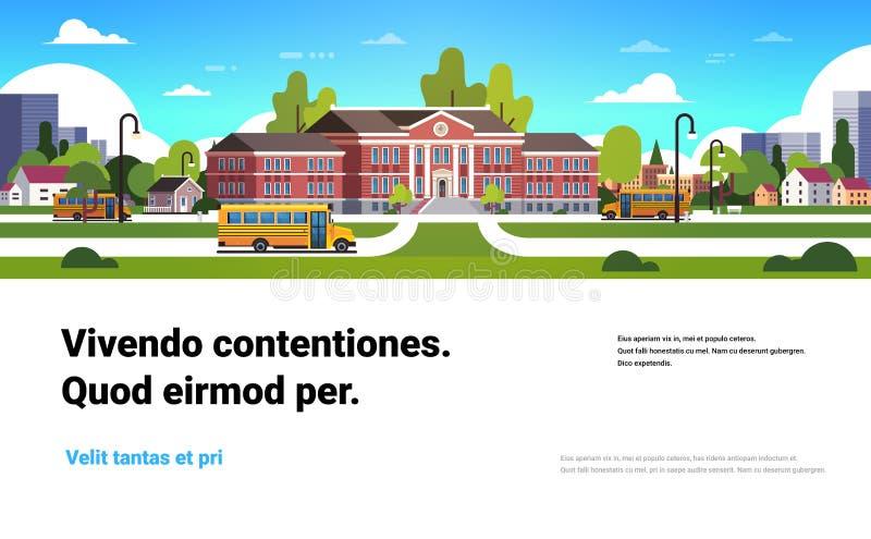El autobús amarillo delante de alumnos exteriores de la construcción de escuelas transporta concepto el espacio horizontal plano  ilustración del vector