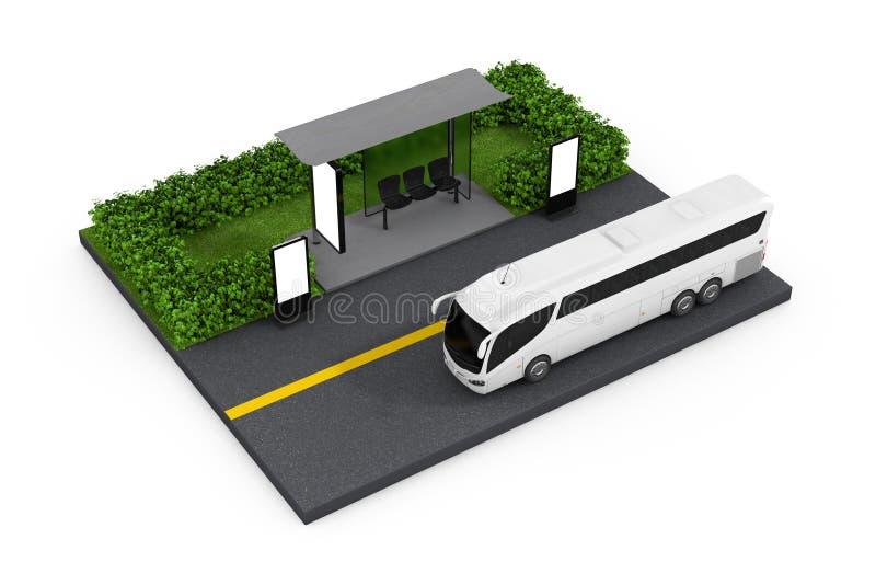 El autobús blanco grande de Tour Bus Near del coche para la estación con Billbo en blanco libre illustration
