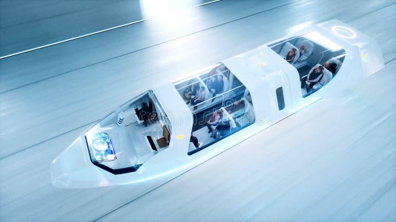 El autobús futurista del vuelo con la gente ayuna conduciendo en el túnel del fi del sci, coridor Concepto de futuro representaci imagenes de archivo