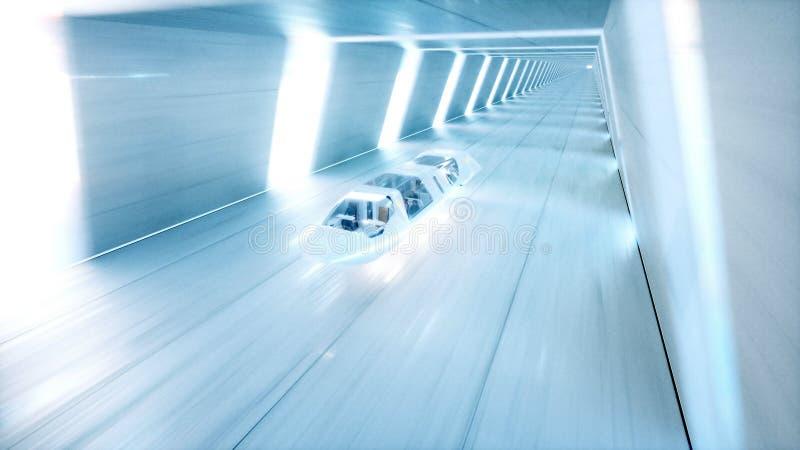 El autobús futurista del vuelo con la gente ayuna conduciendo en el túnel del fi del sci, coridor Concepto de futuro representaci ilustración del vector