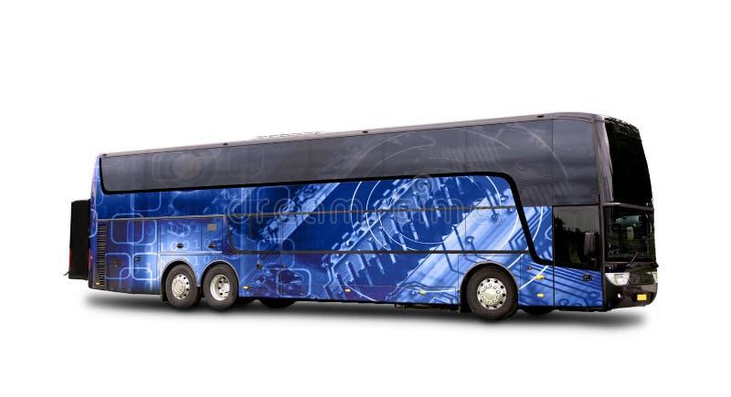 El autobús negro del viaje con el fondo azul abstracto ilustra nuevo t foto de archivo libre de regalías