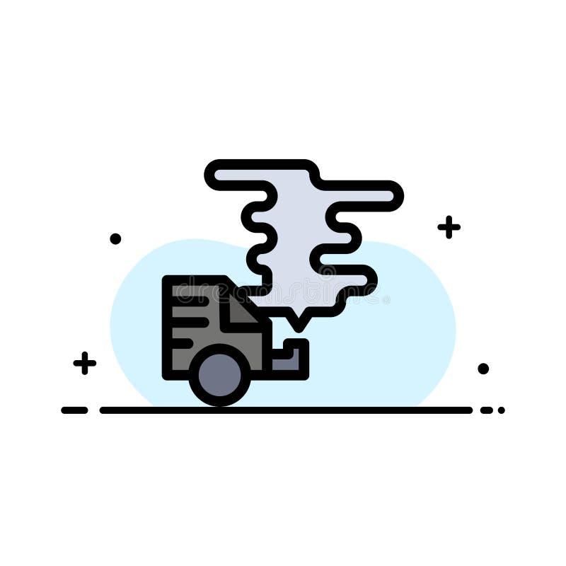 El automóvil, coche, emisión, gas, línea plana del negocio de la contaminación llenó la plantilla de la bandera del vector del ic ilustración del vector