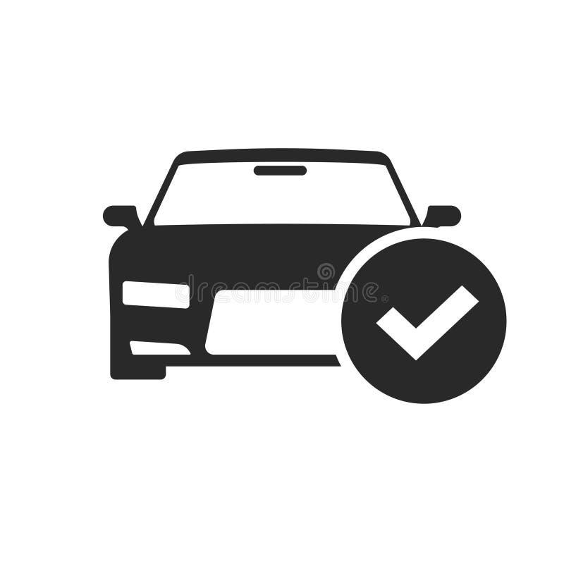El automóvil con vector del icono de la marca de verificación, forma blanco y negro del coche con el pictograma de la señal aisló stock de ilustración