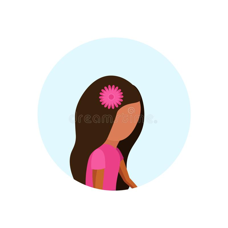 El avatar del perfil de la niña aisló el plano femenino lindo del retrato del personaje de dibujos animados stock de ilustración