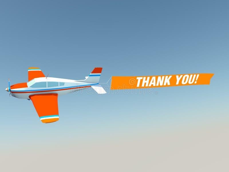 ¡El avión con le agradece! bandera ilustración del vector