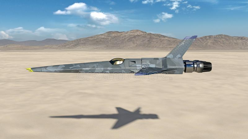 El avión de combate, aeroplano militar futurista que vuela sobre un desierto con las montañas en el fondo, vista lateral, 3D rind libre illustration