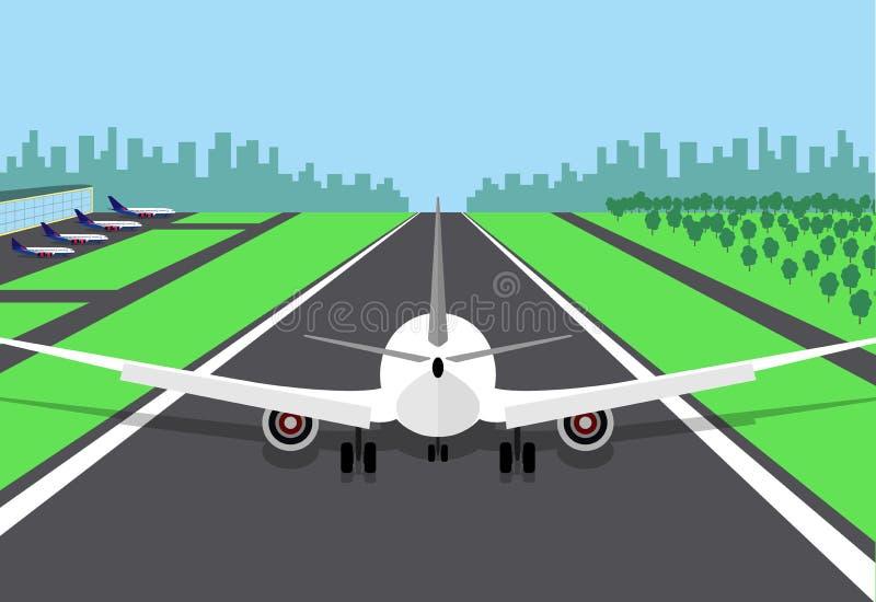 El avión de pasajeros al principio de la pista, preparándose para saca Vector el ejemplo de un aeroplano, vista posterior, en un  stock de ilustración