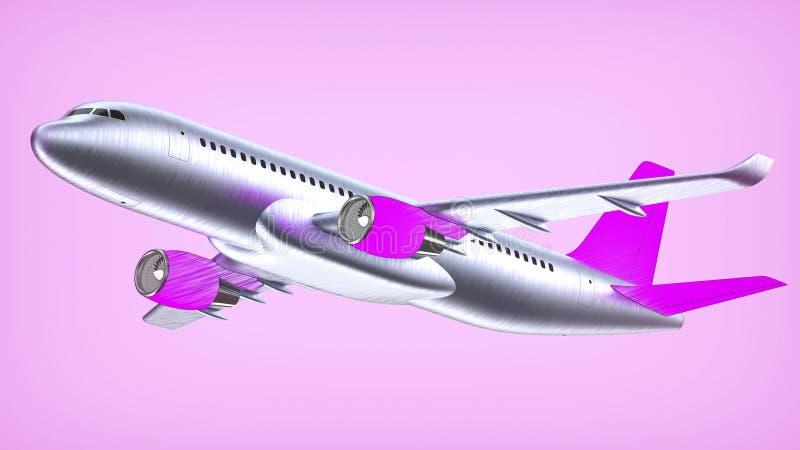 El avión de pasajeros blanco arriba detallado con un ala de cola púrpura, 3d rinde en una violeta blanca El aeroplano saca, el ar libre illustration