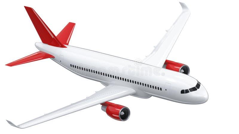 El avión de pasajeros blanco arriba detallado con un ala de cola roja, 3d rinde en un fondo blanco El aeroplano hace una vuelta,  stock de ilustración