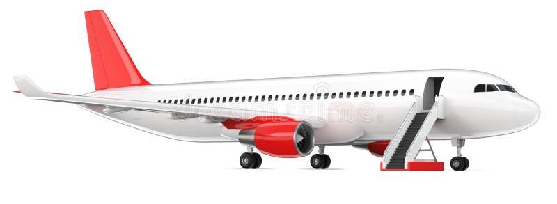 El avión de pasajeros blanco arriba detallado con un ala de cola roja, 3d rinde en un fondo blanco Aeroplano con la escalerilla d ilustración del vector