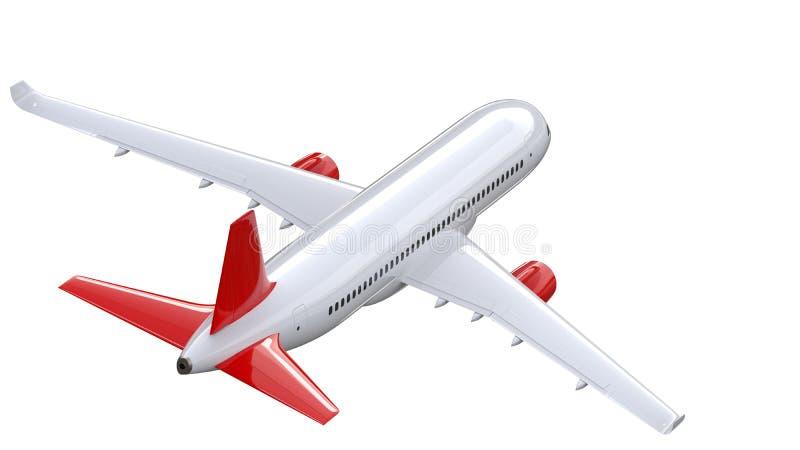 El avión de pasajeros blanco arriba detallado con un ala de cola roja, 3d rinde en un fondo blanco Opinión trasera del aeroplano, ilustración del vector