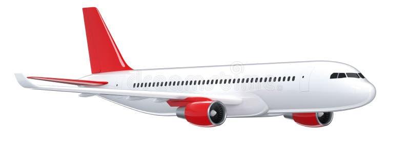 El avión de pasajeros blanco arriba detallado, 3d rinde en un fondo blanco Vista lateral del aeroplano, ejemplo aislado 3d airlin stock de ilustración