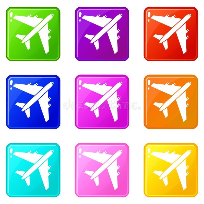 El avión de pasajeros del pasajero fijó 9 ilustración del vector